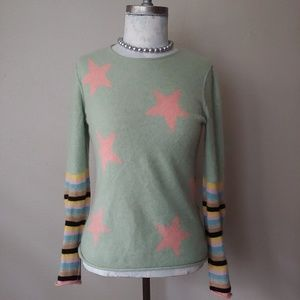 Joie Cashmere Pink Stars and Stripes Crew Neck